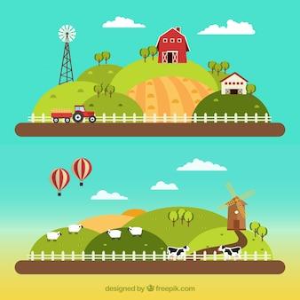 Paisajes de granja en diseño plano
