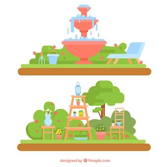 paisajes de jardín con fuente y macetas