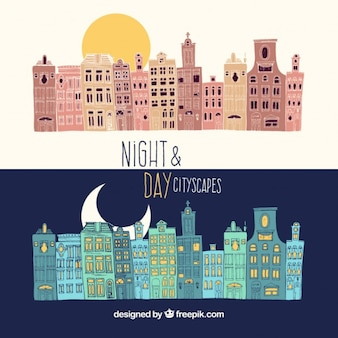 Paisajes urbanos de noche y de día dibujados a mano