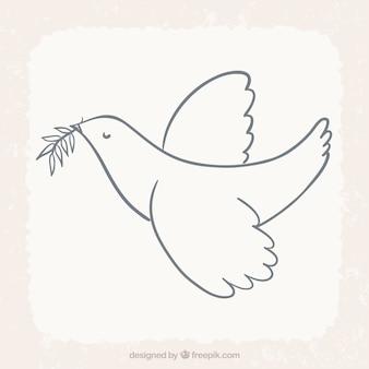 Pájaro que vuela con la hoja de laurel