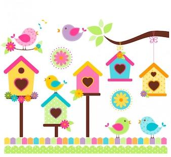 Pájaros cantando en estilo colorido