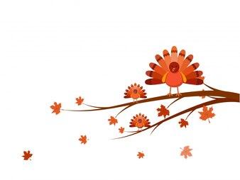 Pájaros de Turquía en la rama de árbol para el Día de Acción de Gracias.