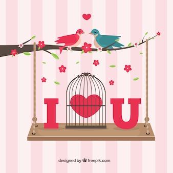 Pájaros enamorados en una rama con un columpio