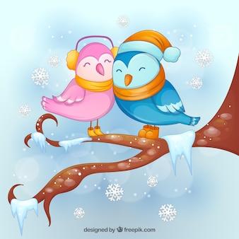 Pájaros invernales amorosos