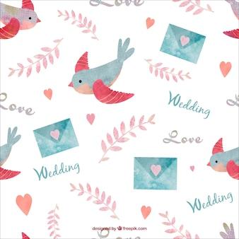 Pájaros pintados a mano y patrón envolvente