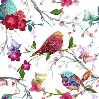 Pájaros y flores sobre fondo blanco