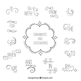 Palabras claves con detalles ornamentales dibujados a mano
