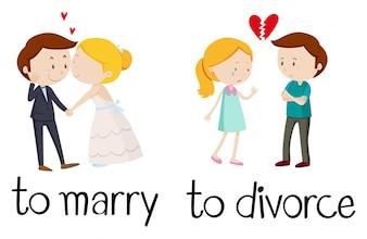 Palabras opuestas para casarse y divorciarse