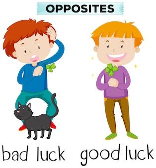 Palabras opuestas para mala suerte y buena suerte