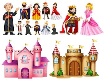 Palacio real y diferentes personajes