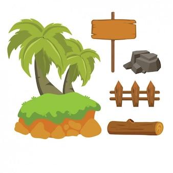 Palmeras, piedra y señal de madera