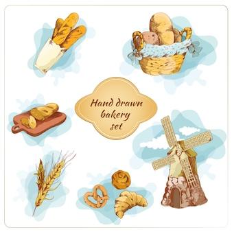 Panadería dibujado a mano conjunto de elementos decorativos