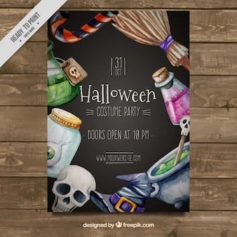 Panfleto en acuarela de fiesta de halloween espeluznante