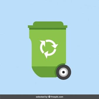Papelera de reciclaje en diseño plano