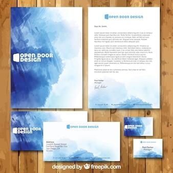 Papelería azul de negocio