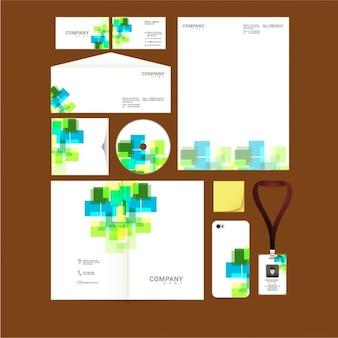 Papelería corporativa con formas abstractas de colores