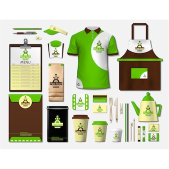 Papelería de cafetería con diseño verde