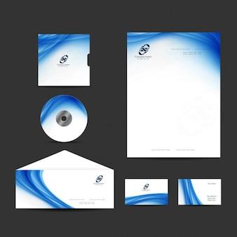 Papelería de comercio con diseño ondulado