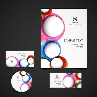 Papelería de negocio con círculos de colores