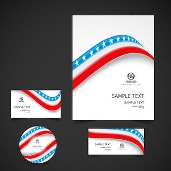 Papelería de negocio con la bandera americana