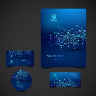 Papelería de negocio en azul oscuro