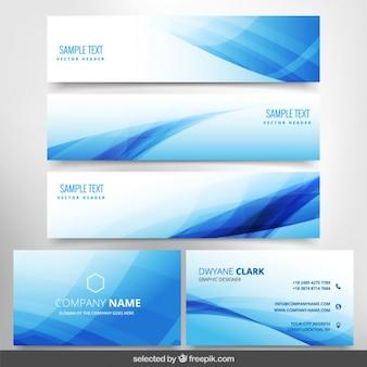 Papelería de negocios ondulada azul