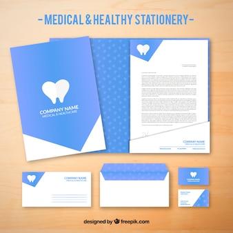Papelería médica azul