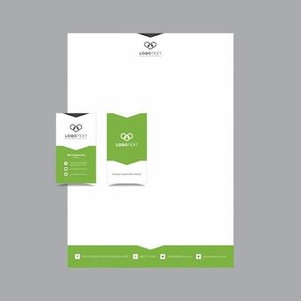 Papelería verde geométrica creativa