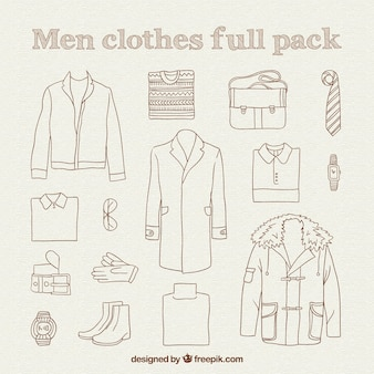 Paquete completo de ropa de hombre dibujada a mano