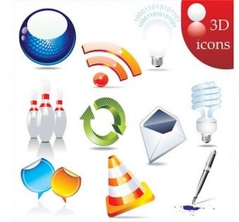 Paquete conjunto de vectores icono brillante 3D