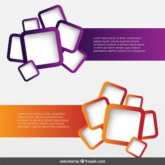 Paquete de banners con cuadrados redondeados