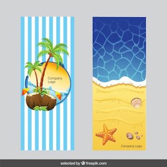 Paquete de banners con ilustración de verano