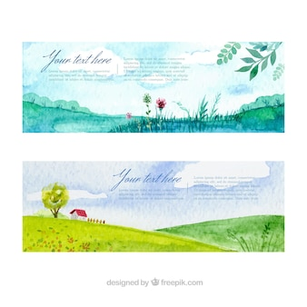 Paquete de banners de acuarela con paisaje
