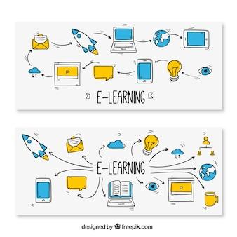 Paquete de banners de enseñanza online dibujados a mano