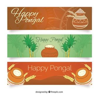 Paquete de banners de feliz Pongal