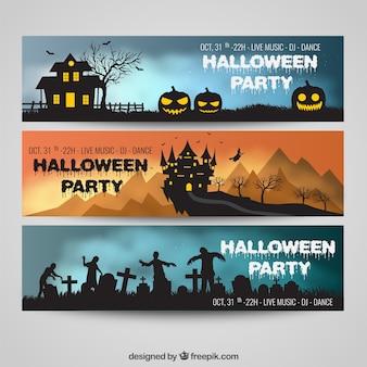 Paquete de banners de fiesta de halloween