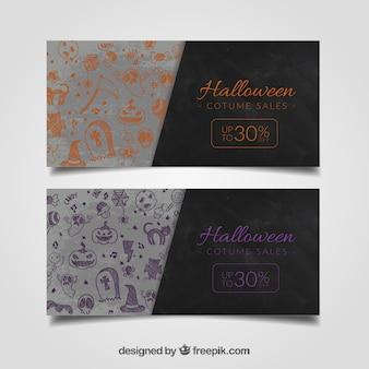 Paquete de banners de rebajas de halloween