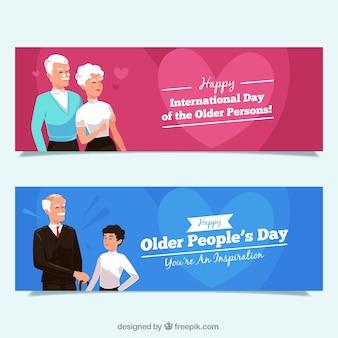 Paquete de banners del día de las personas mayores