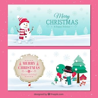 Paquete de banners navideños nevados