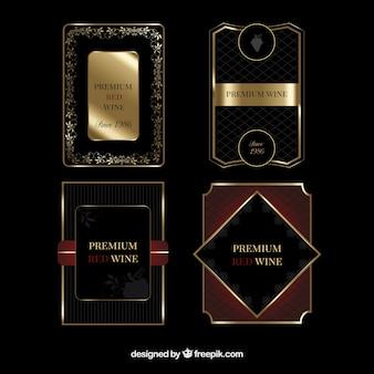 Paquete de etiquetas de vino de lujo