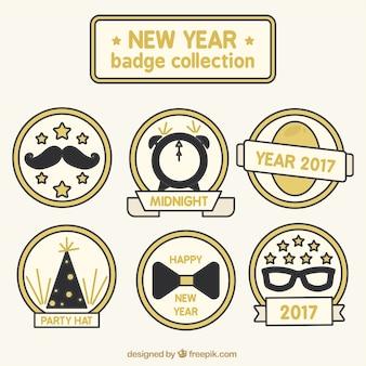Paquete de etiquetas planas para el año nuevo
