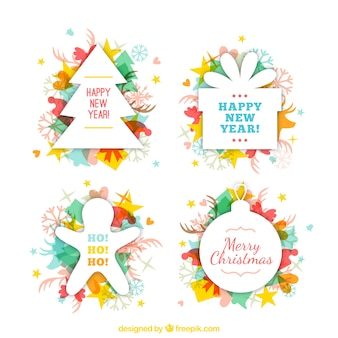 Paquete de insignias coloridas de navidad