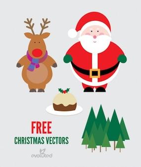 Paquete de la Navidad del vector con santa claus y renos