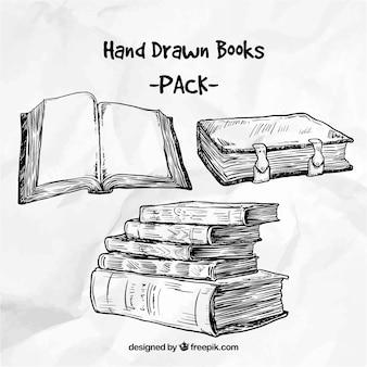 Paquete de libros dibujados a mano