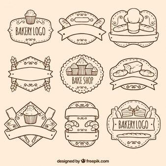 Paquete de logos de panadería dibujados a mano 8,709 99 hace 1 años