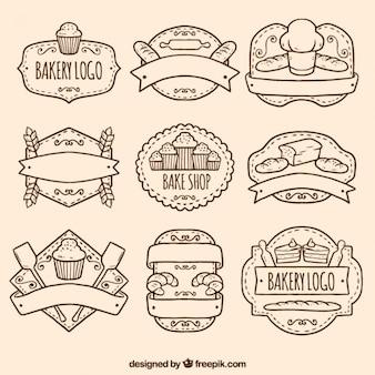 Paquete de logos de panadería dibujados a mano