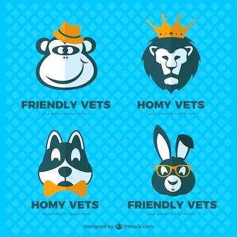 Paquete de logos divertidos de veterinario