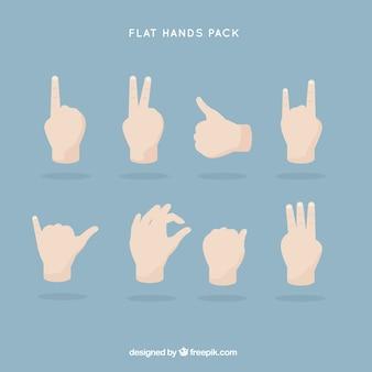 Paquete de manos planas