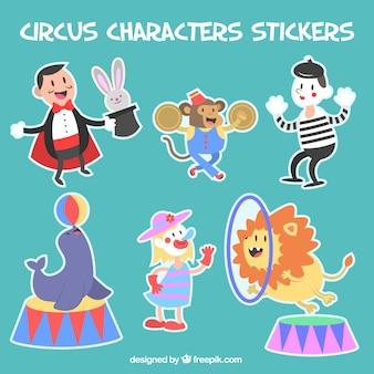 Paquete de pegatinas de personajes de circo