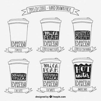 Paquete de tipos de café dibujados a mano